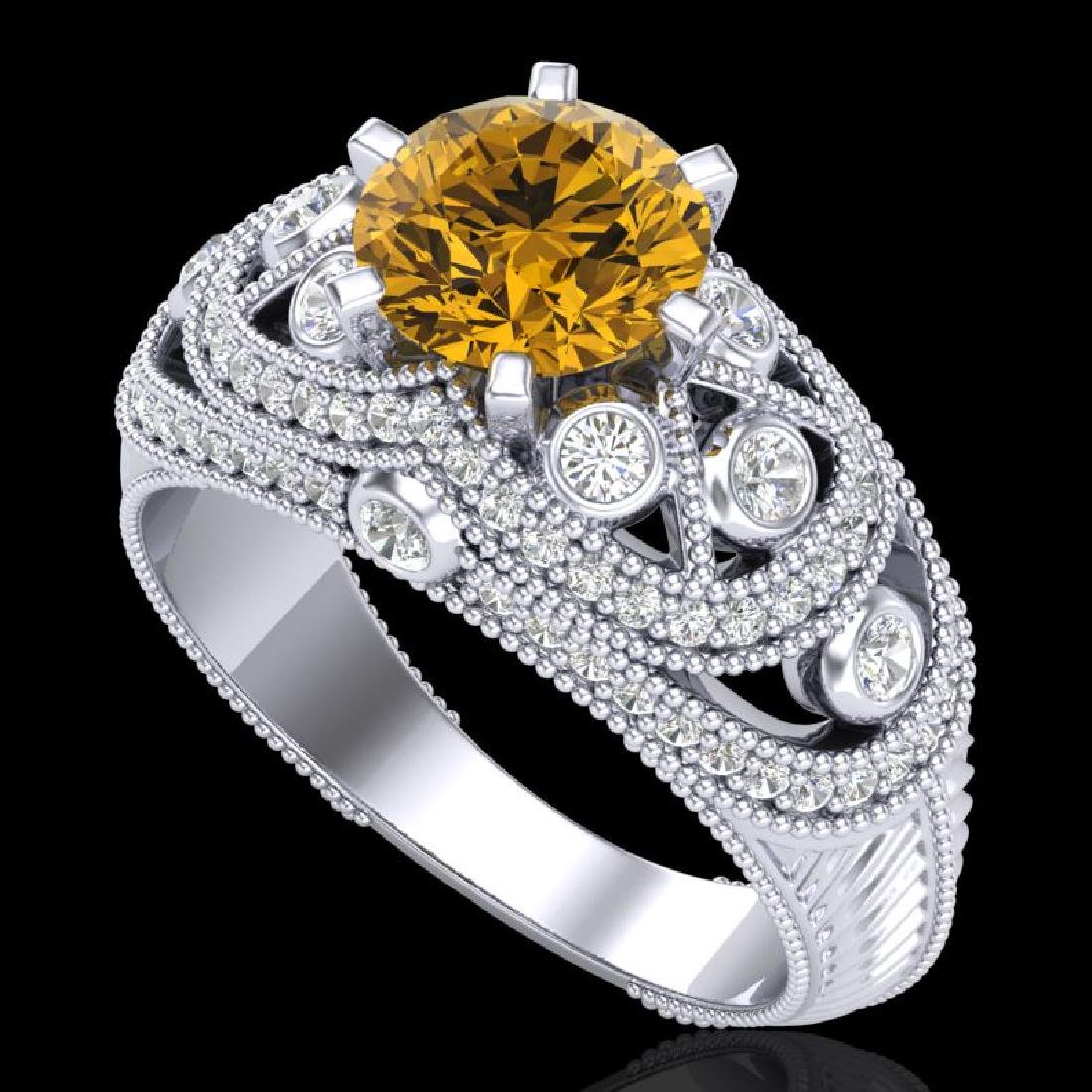 2 CTW Intense Yellow Diamond Solitaire Engagement Art