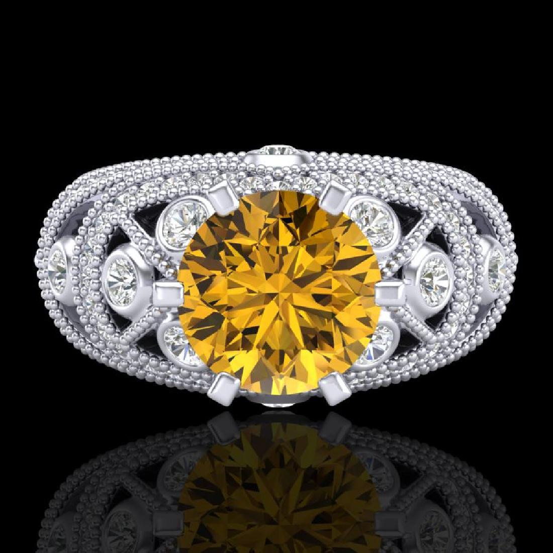2 CTW Intense Yellow Diamond Solitaire Engagement Art - 2