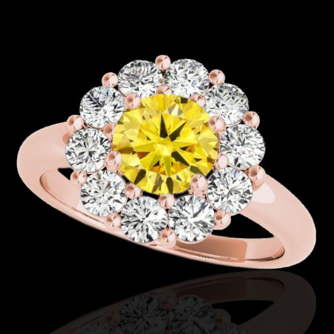2.09 CTW Certified SI/I Fancy Intense Yellow Diamond