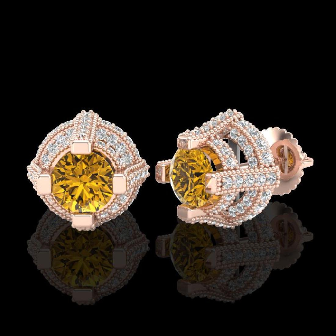 2.75 CTW Intense Fancy Yellow Diamond Micro Pave Stud - 2