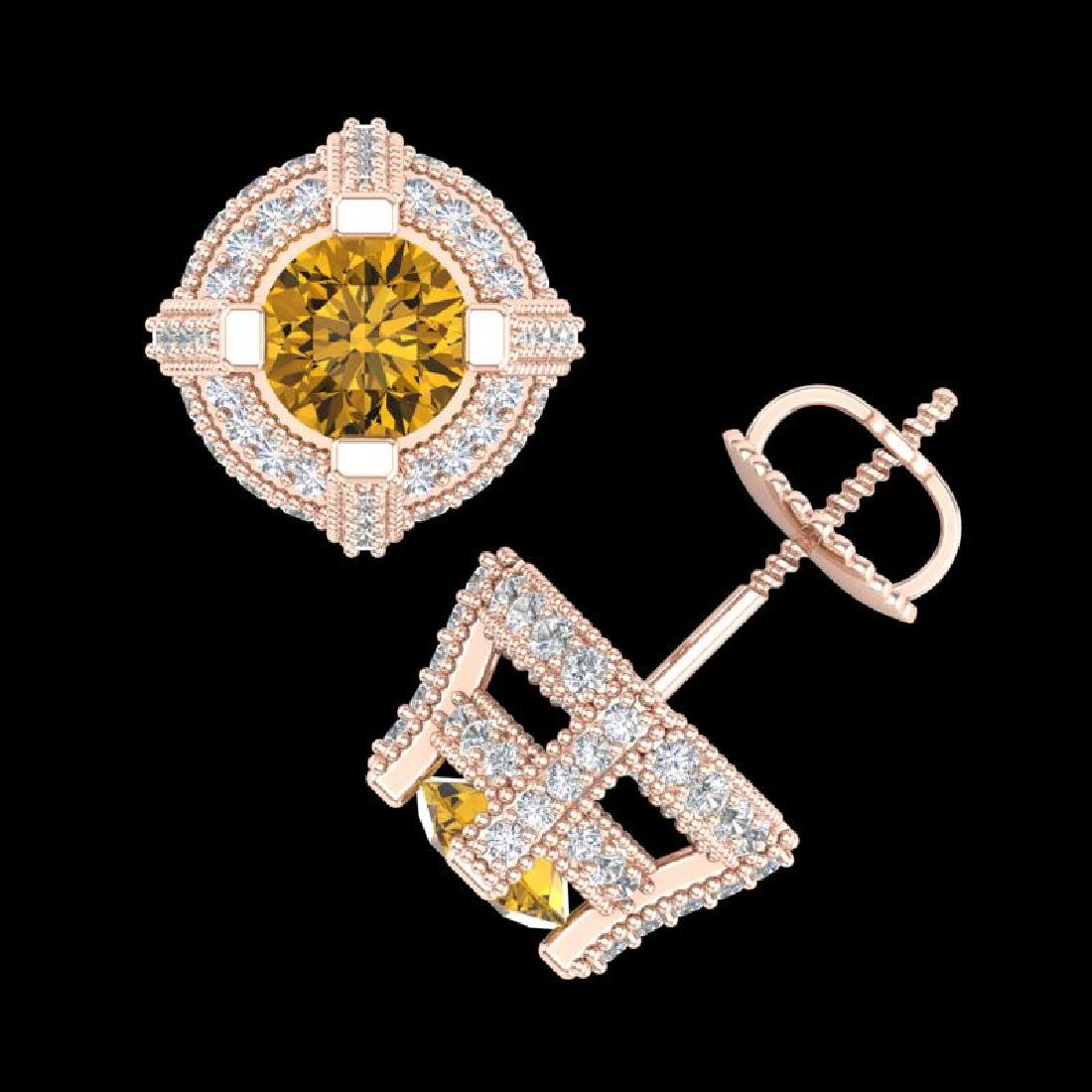 2.75 CTW Intense Fancy Yellow Diamond Micro Pave Stud - 3