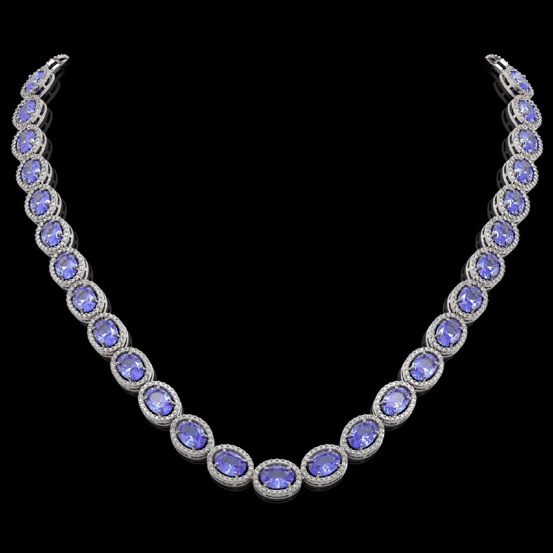 48.65 CTW Tanzanite & Diamond Halo Necklace 10K White