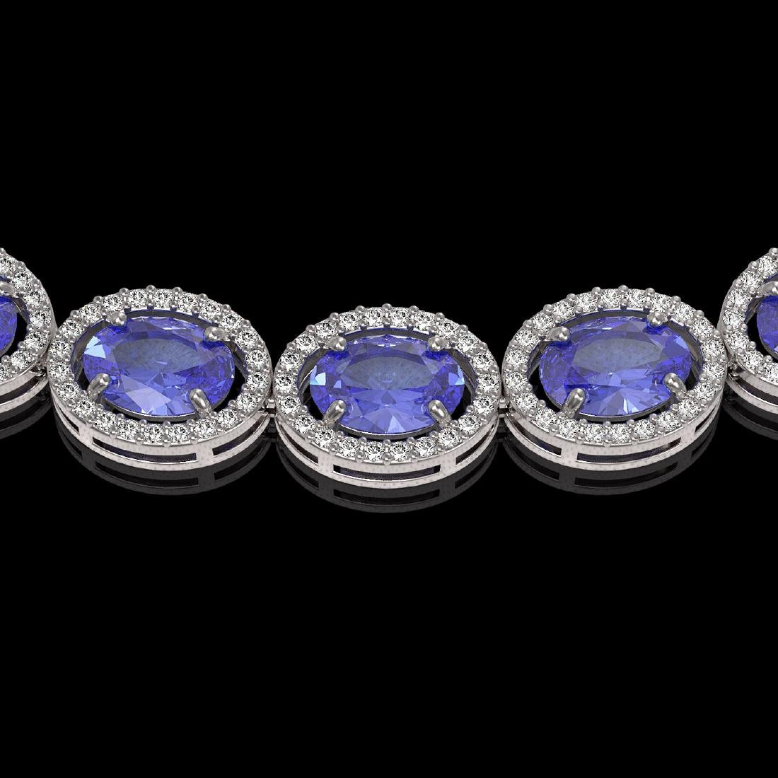 48.65 CTW Tanzanite & Diamond Halo Necklace 10K White - 3