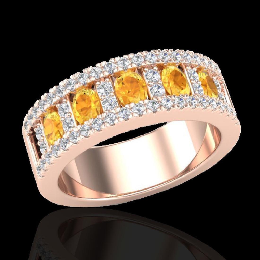 2 CTW Citrine & Micro VS/SI Diamond Inspired Ring 10K - 2
