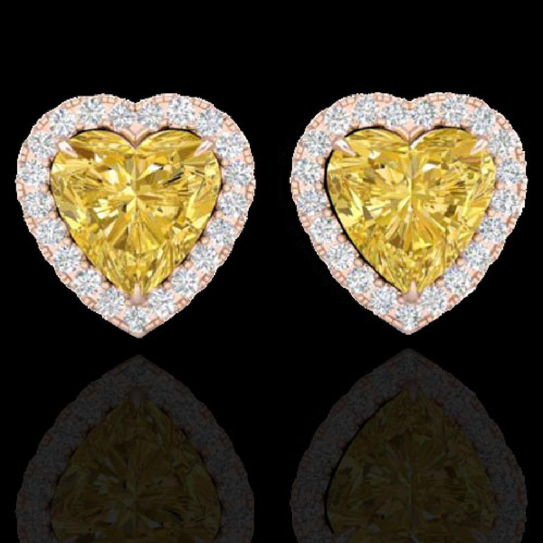 2 CTW Citrine & Micro Pave VS/SI Diamond Earrings Heart