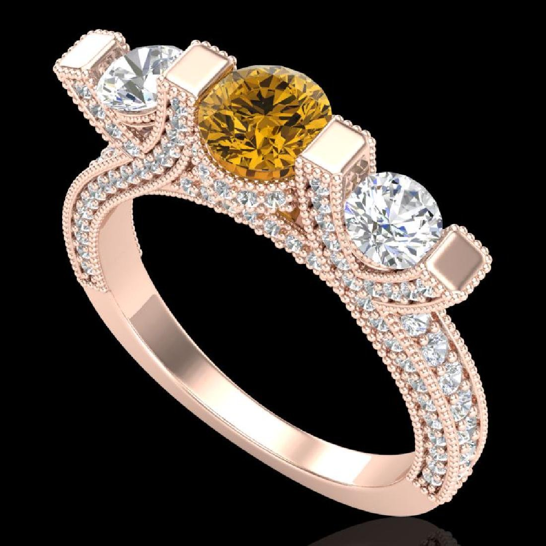 2.3 CTW Intense Fancy Yellow Diamond Micro Pave 3 Stone