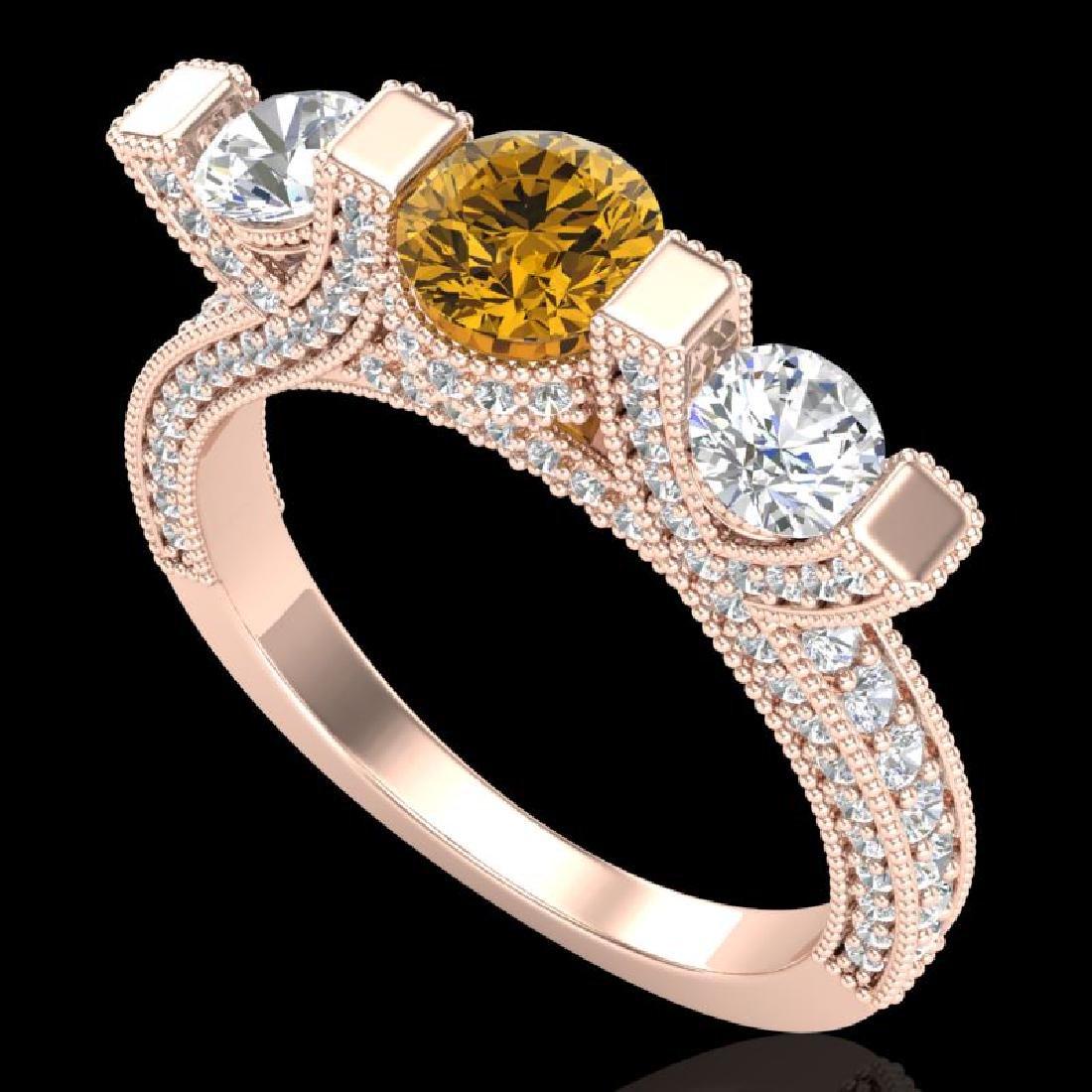 2.3 CTW Intense Fancy Yellow Diamond Micro Pave 3 Stone