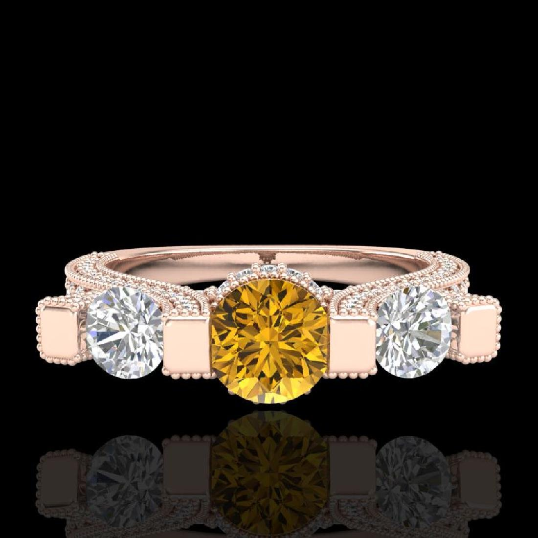 2.3 CTW Intense Fancy Yellow Diamond Micro Pave 3 Stone - 2