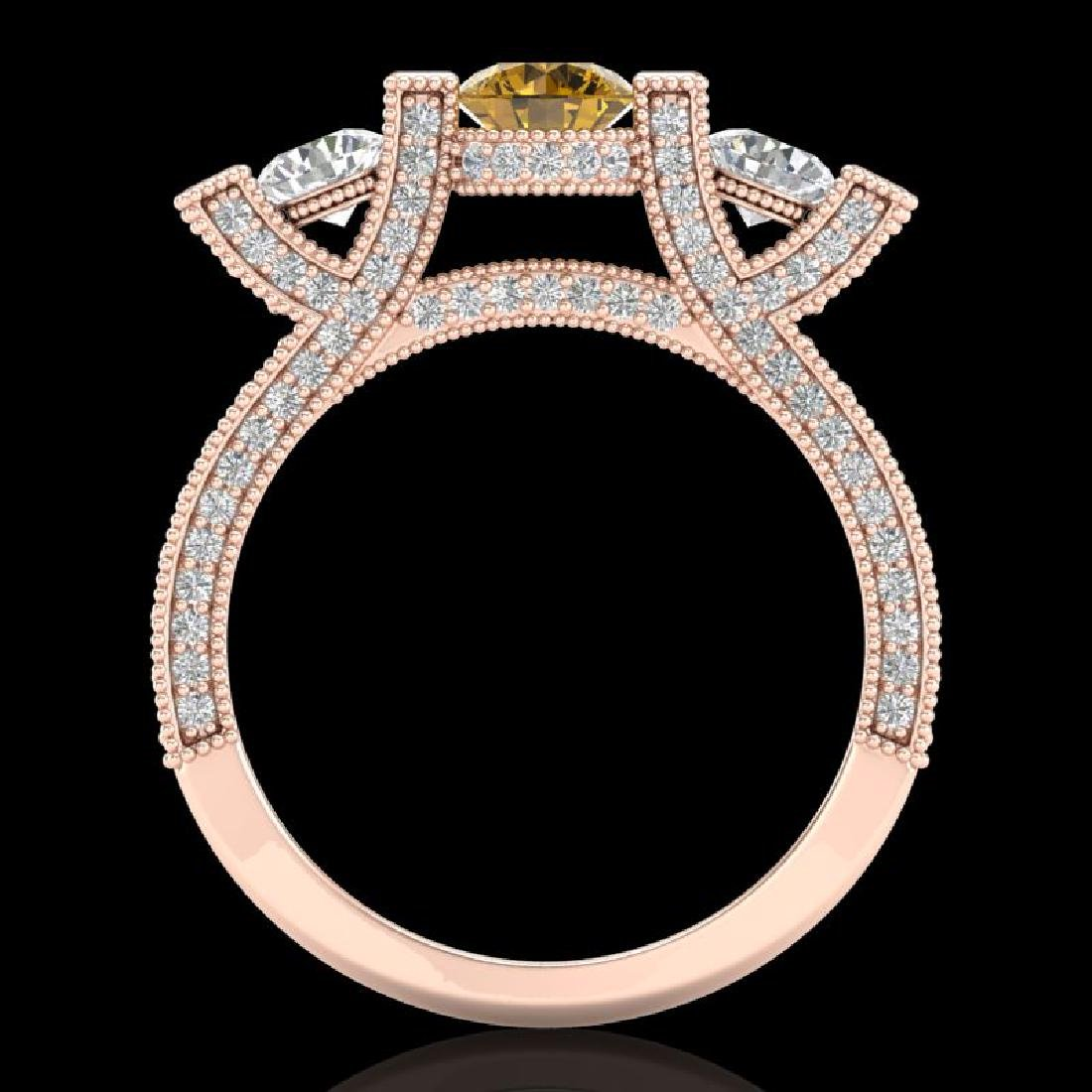 2.3 CTW Intense Fancy Yellow Diamond Micro Pave 3 Stone - 3