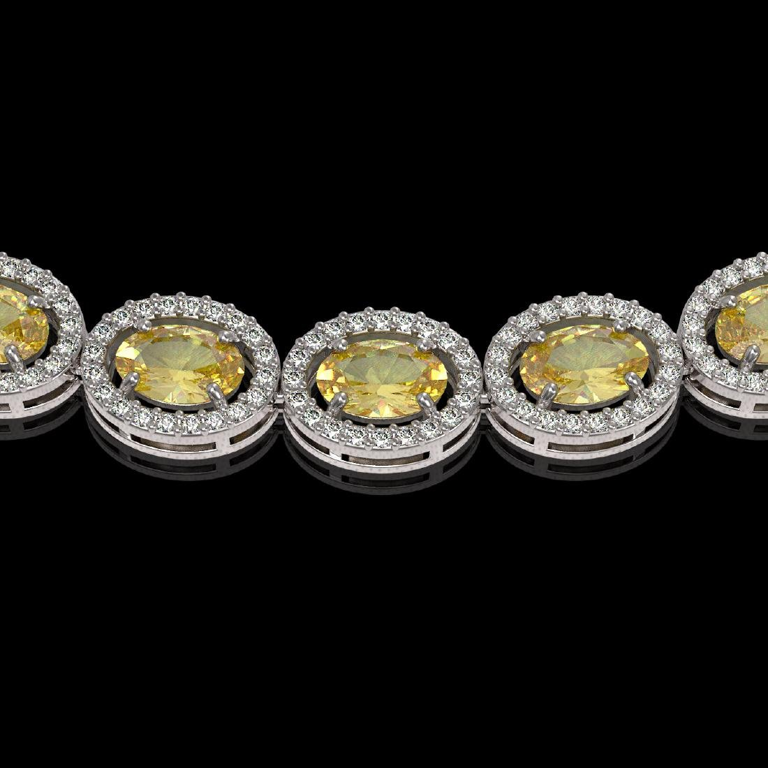 28.52 CTW Fancy Citrine & Diamond Halo Necklace 10K - 3