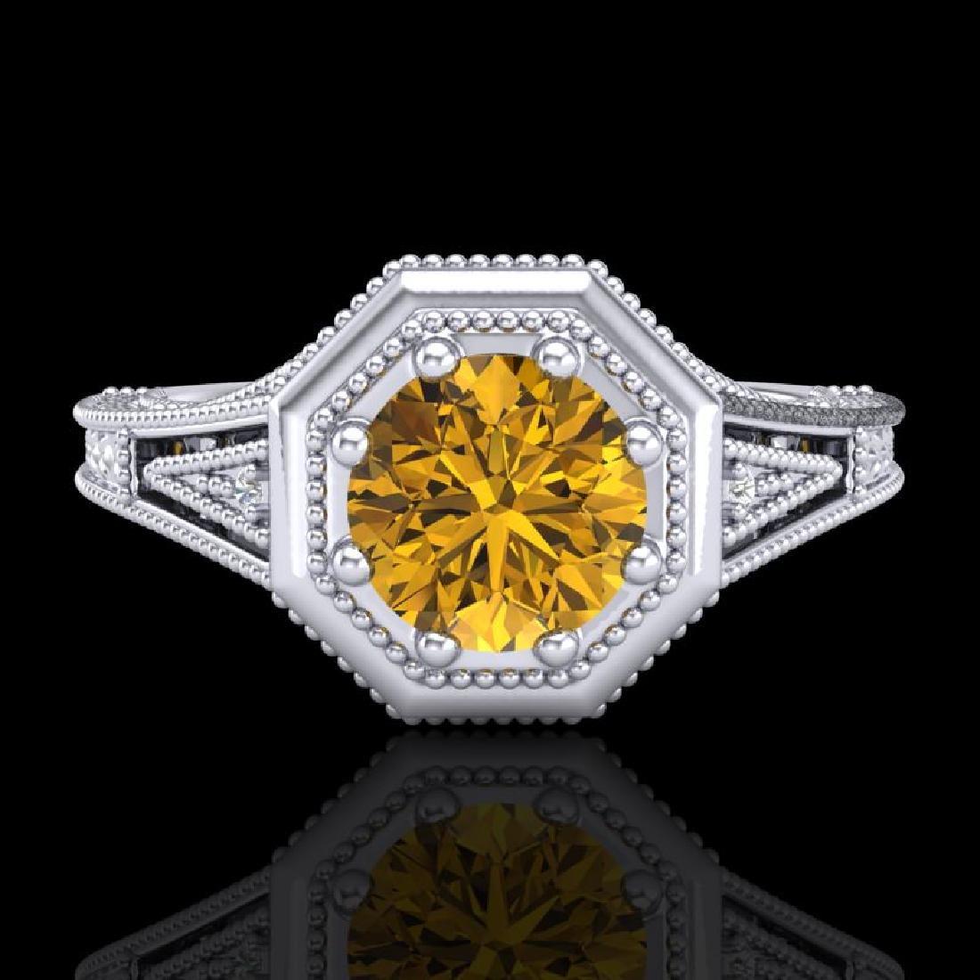 0.84 CTW Intense Fancy Yellow Diamond Engagement Art - 2