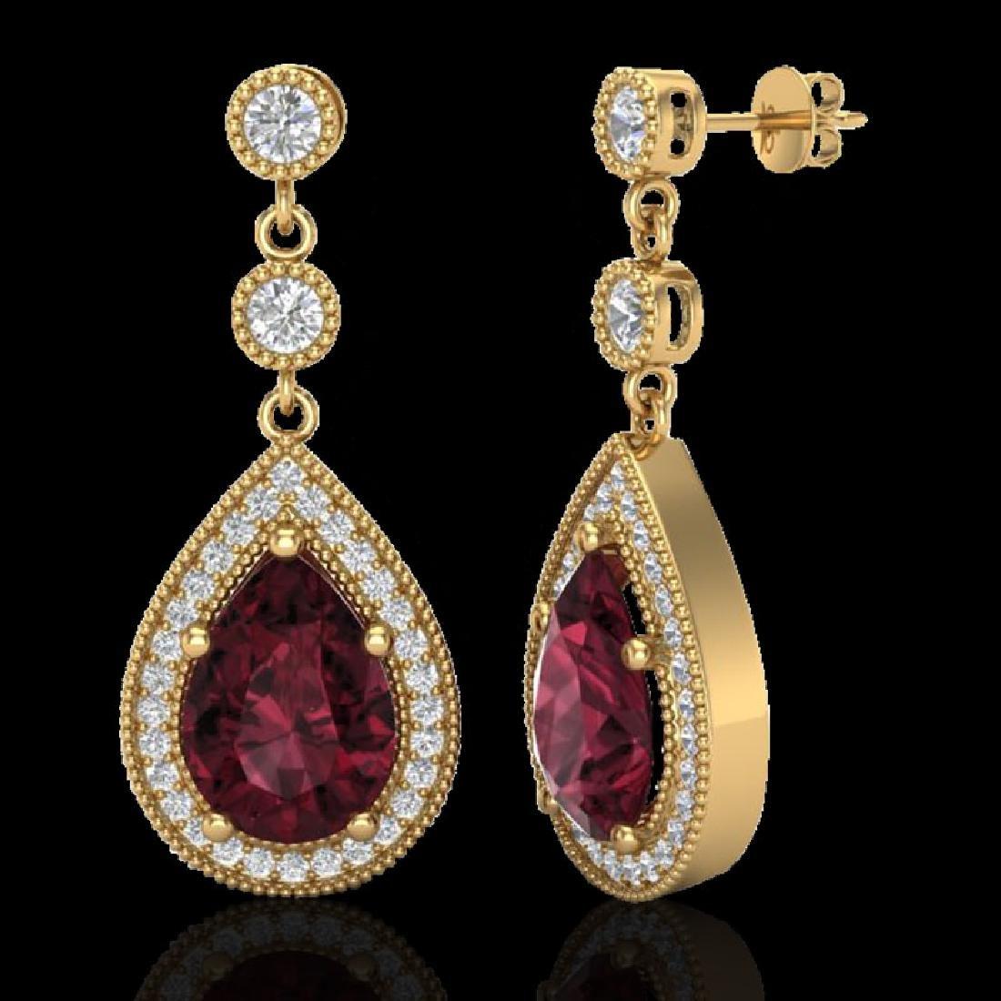 4.50 CTW Garnet & Micro Pave VS/SI Diamond Earrings - 2