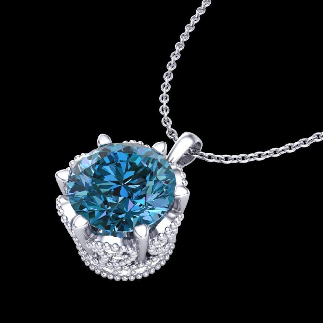 1.36 CTW Fancy Intense Blue Diamond Solitaire Art Deco - 2