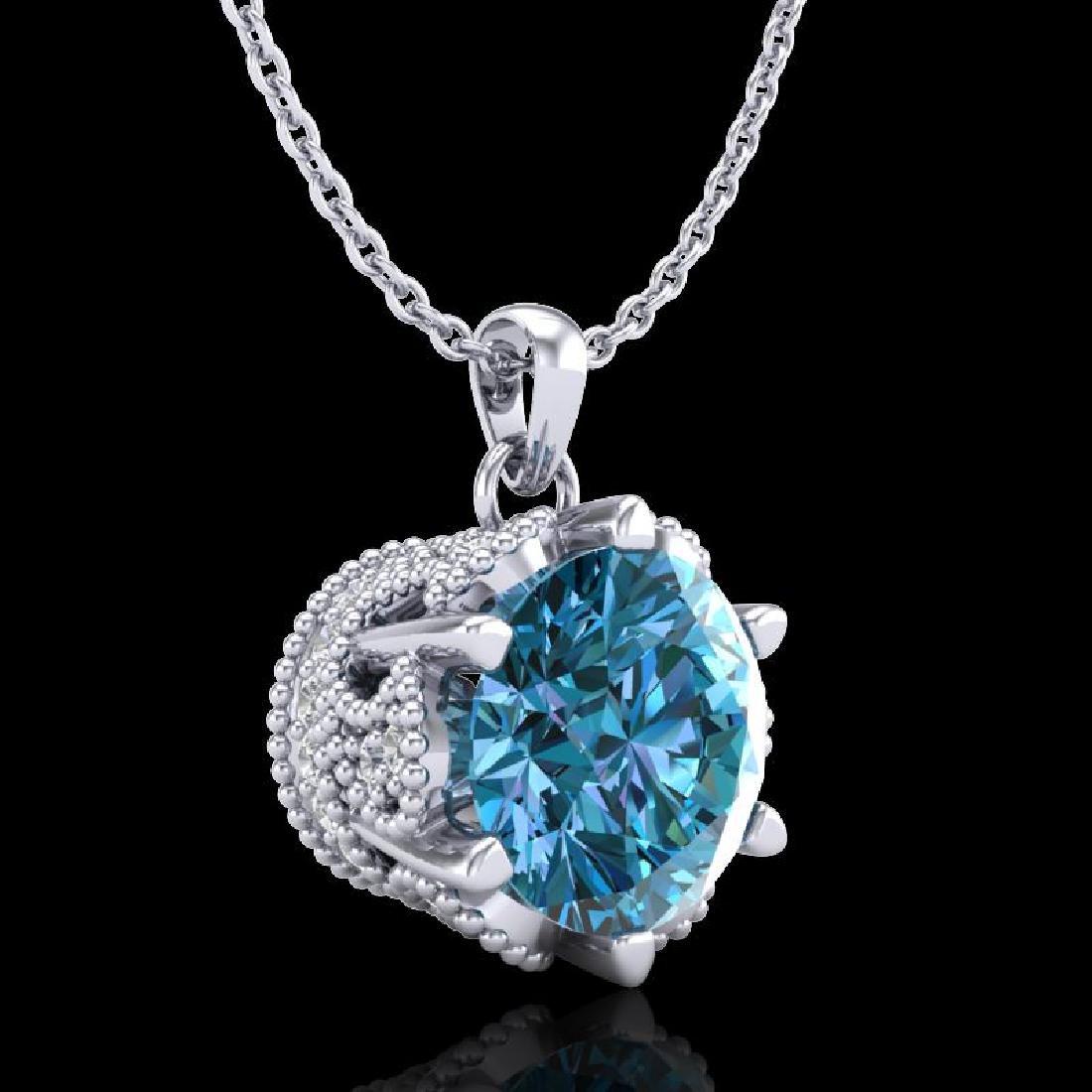 1.36 CTW Fancy Intense Blue Diamond Solitaire Art Deco - 3
