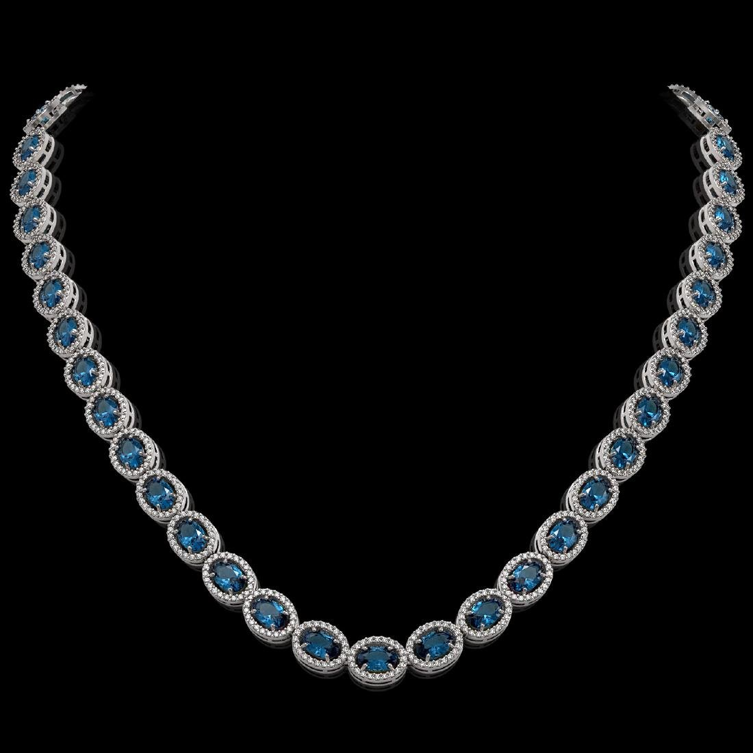 33.25 CTW London Topaz & Diamond Halo Necklace 10K