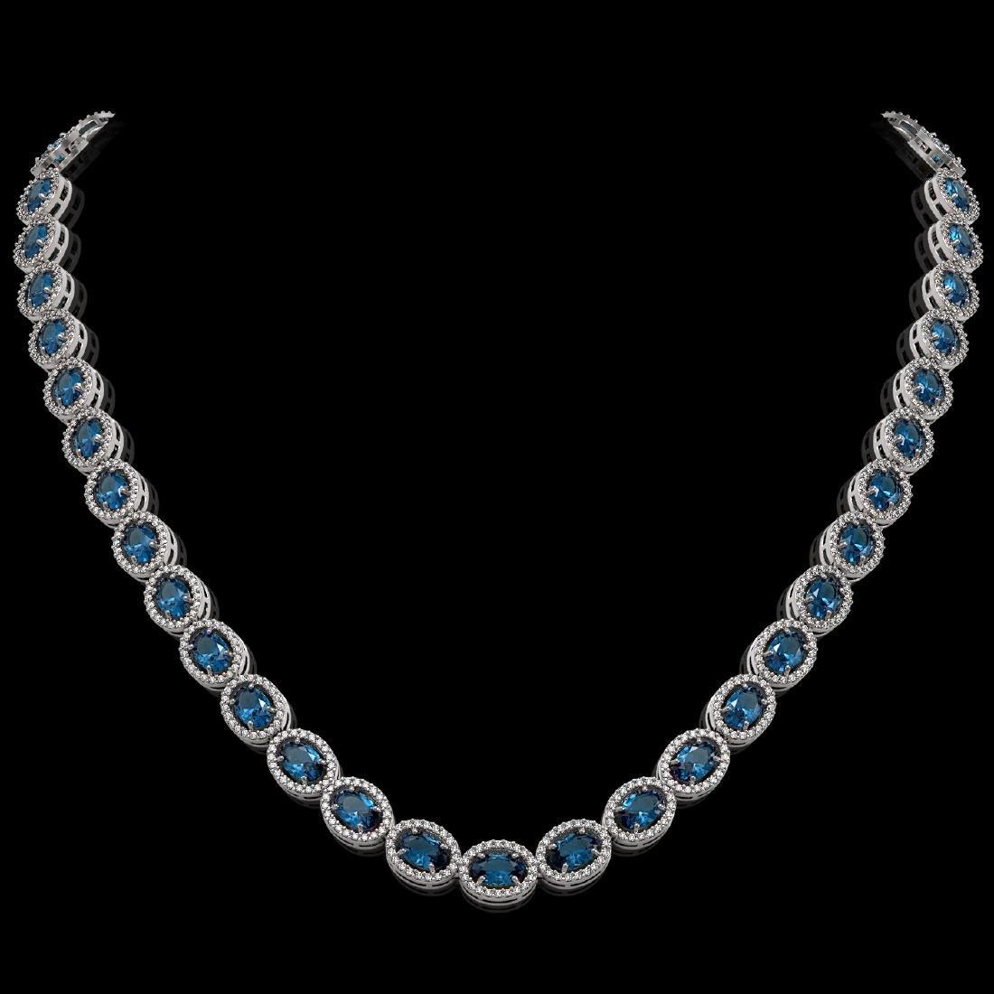 33.25 CTW London Topaz & Diamond Halo Necklace 10K
