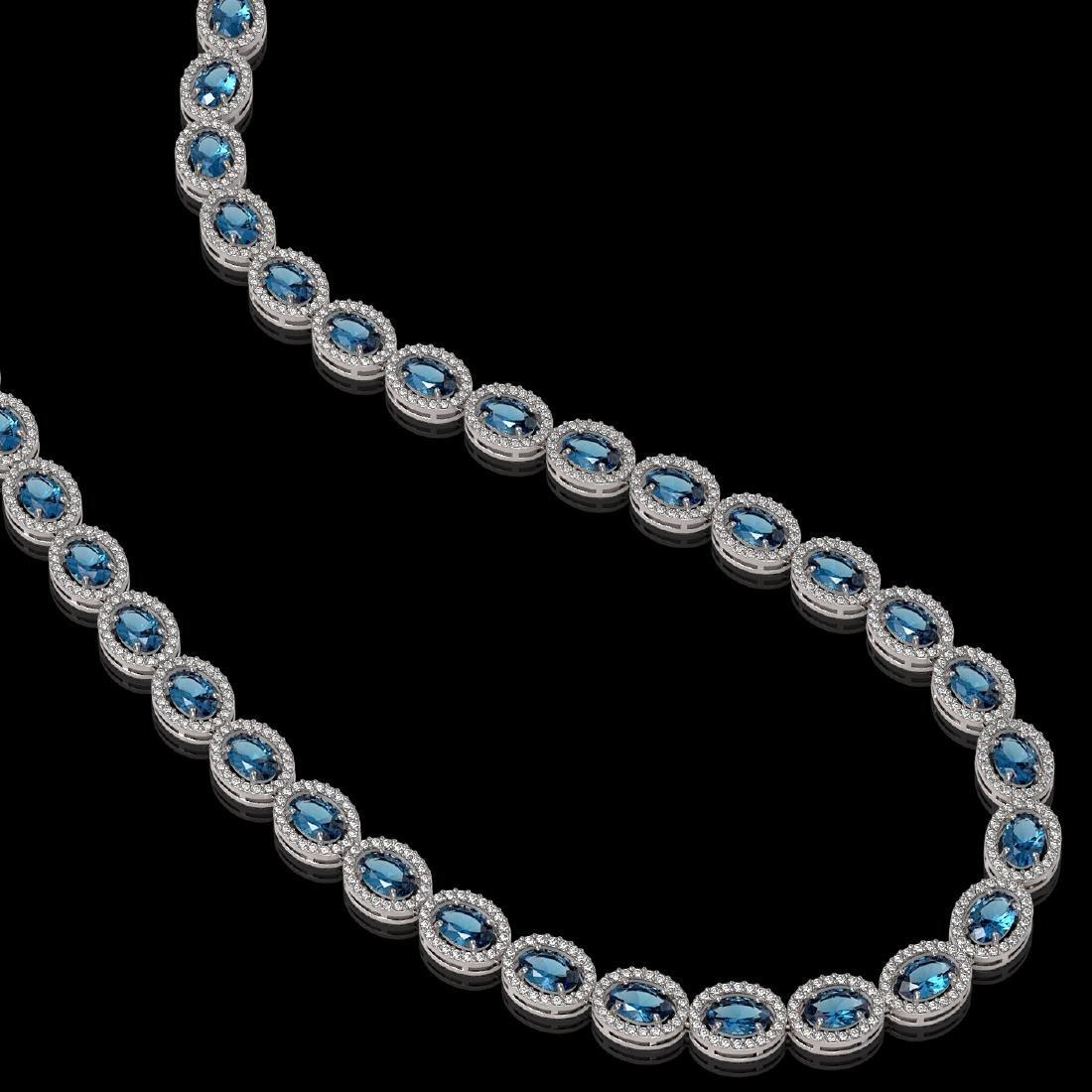 33.25 CTW London Topaz & Diamond Halo Necklace 10K - 2