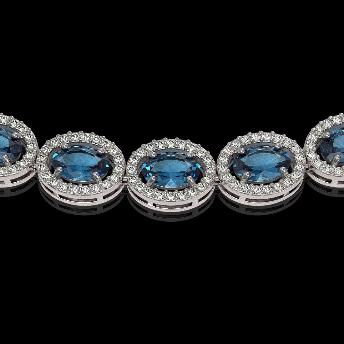 33.25 CTW London Topaz & Diamond Halo Necklace 10K - 3