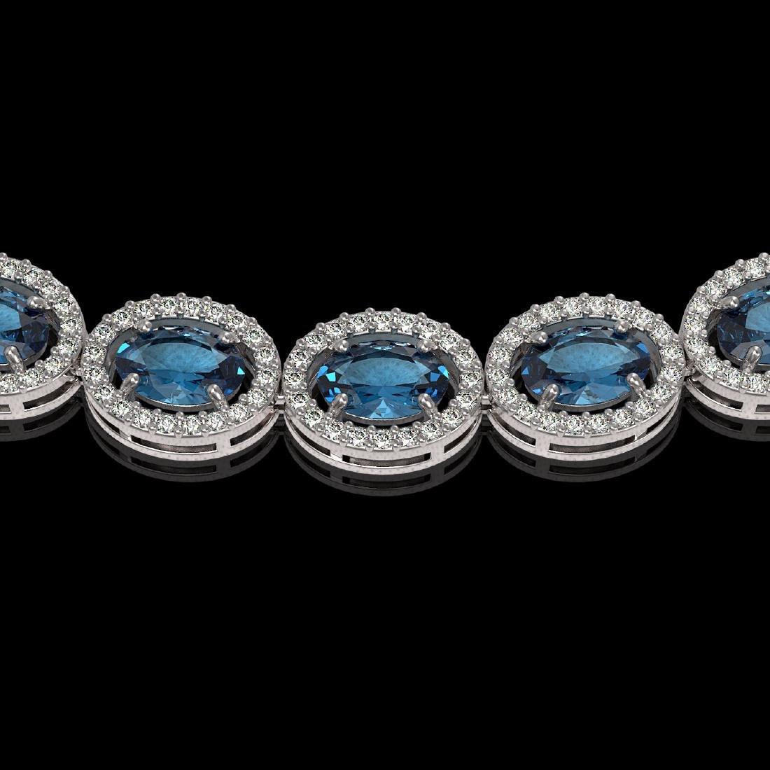 33.25 CTW London Topaz & Diamond Halo Necklace 10K - 3