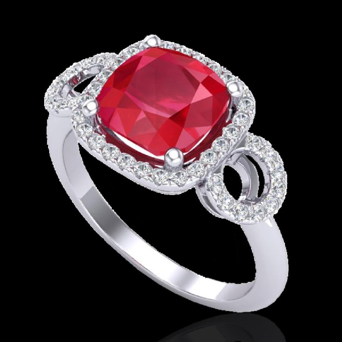 3.15 CTW Ruby & Micro VS/SI Diamond Ring 18K White Gold - 2
