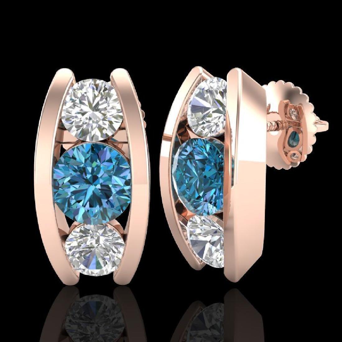 2.18 CTW Fancy Intense Blue Diamond Art Deco Stud - 2