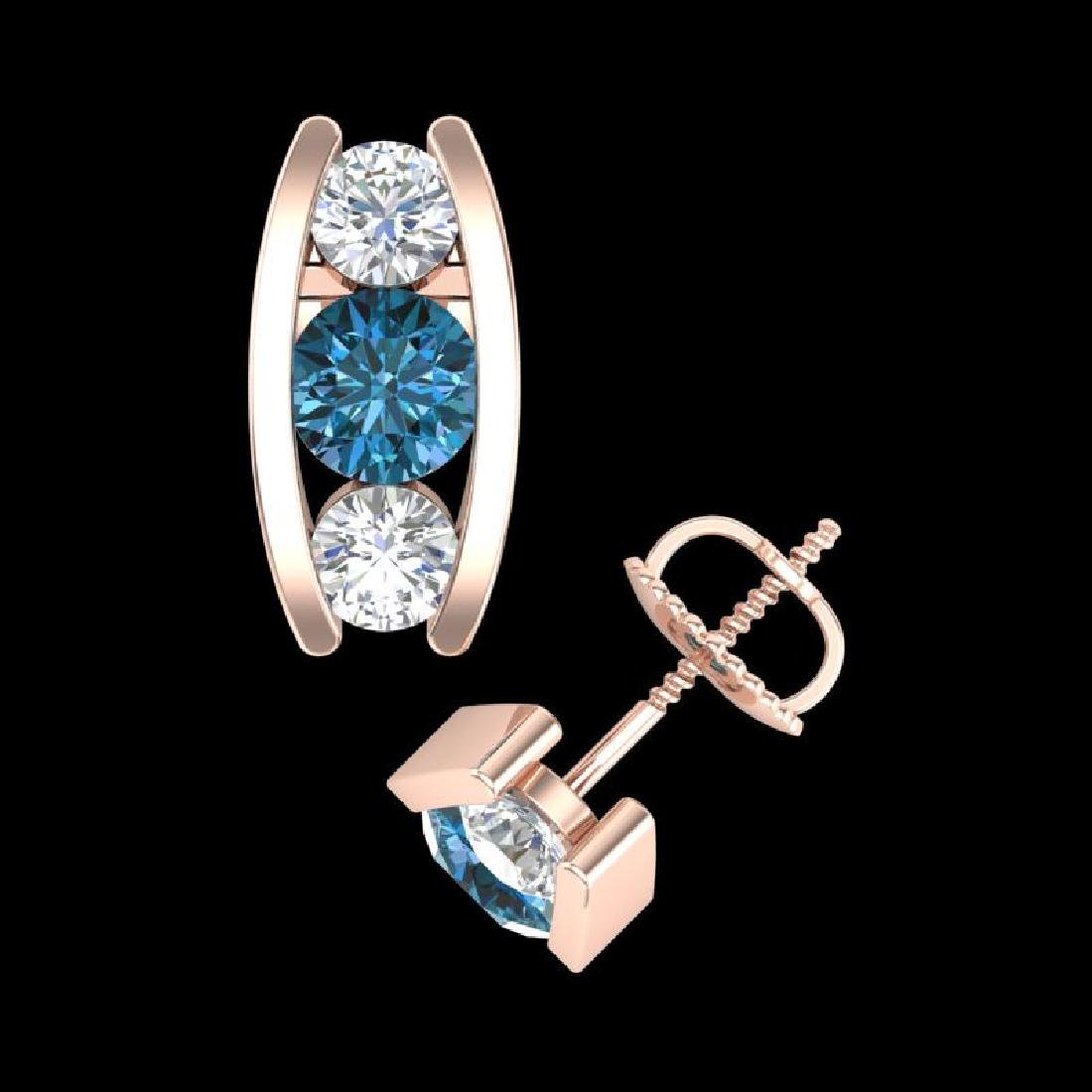 2.18 CTW Fancy Intense Blue Diamond Art Deco Stud - 3