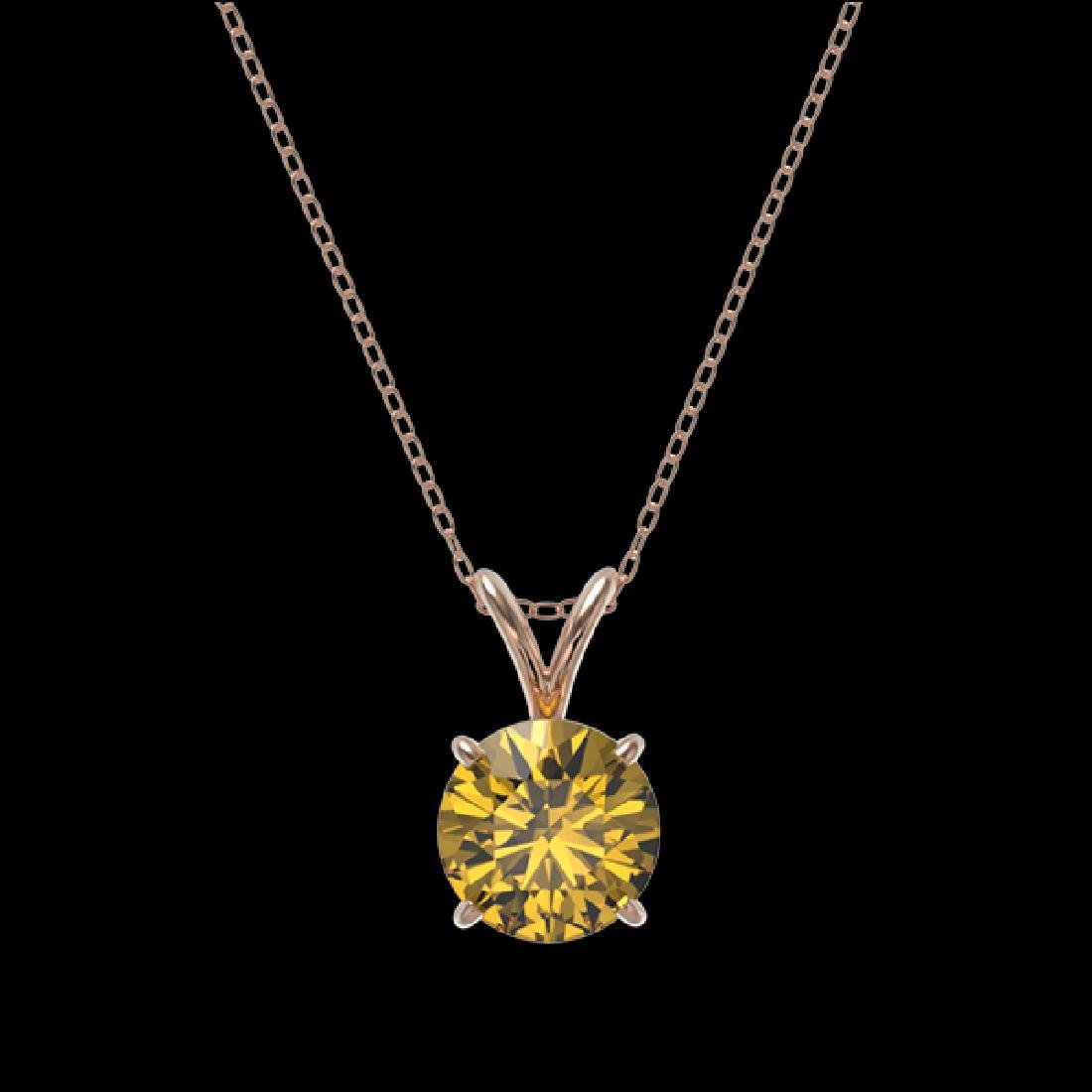 1.21 CTW Certified Intense Yellow SI Diamond Solitaire - 3