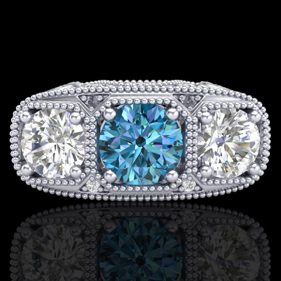 2.51 CTW Intense Blue Diamond Solitaire Art Deco 3 - 2