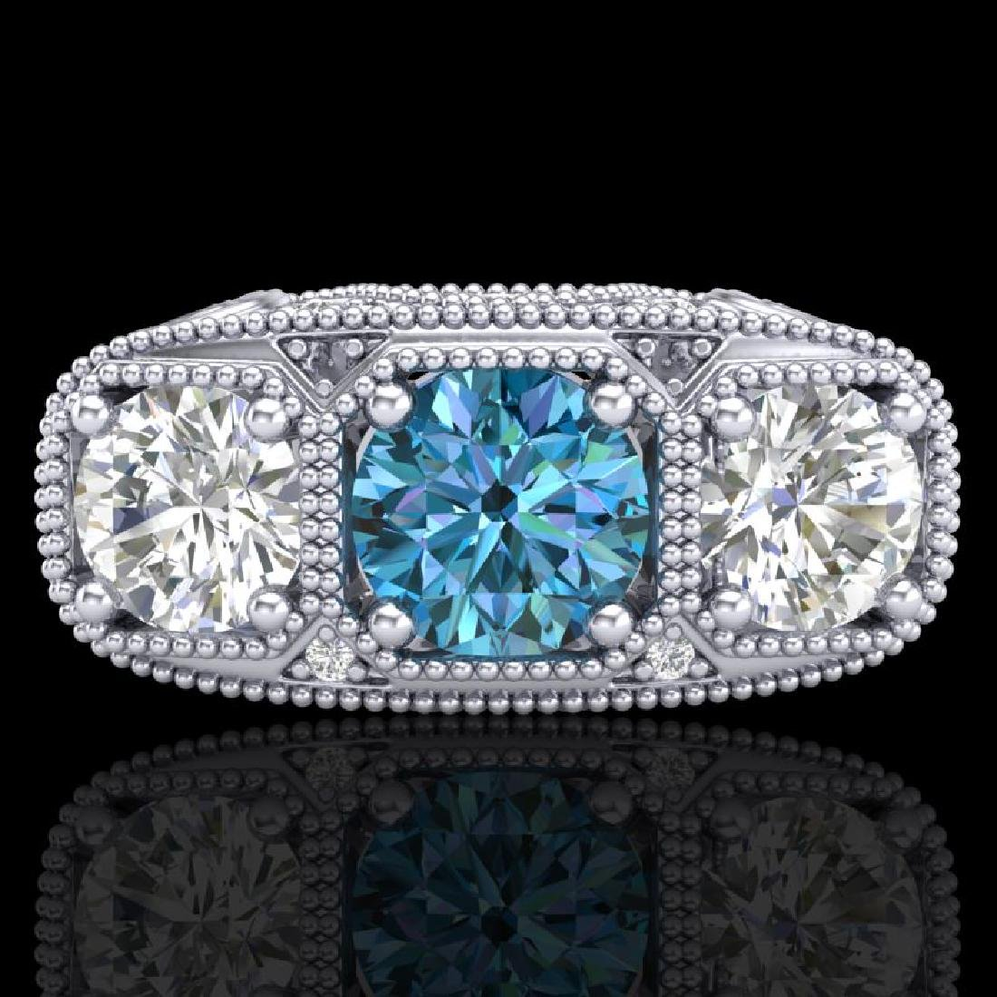 2.51 CTW Intense Blue Diamond Solitaire Art Deco 3 - 2