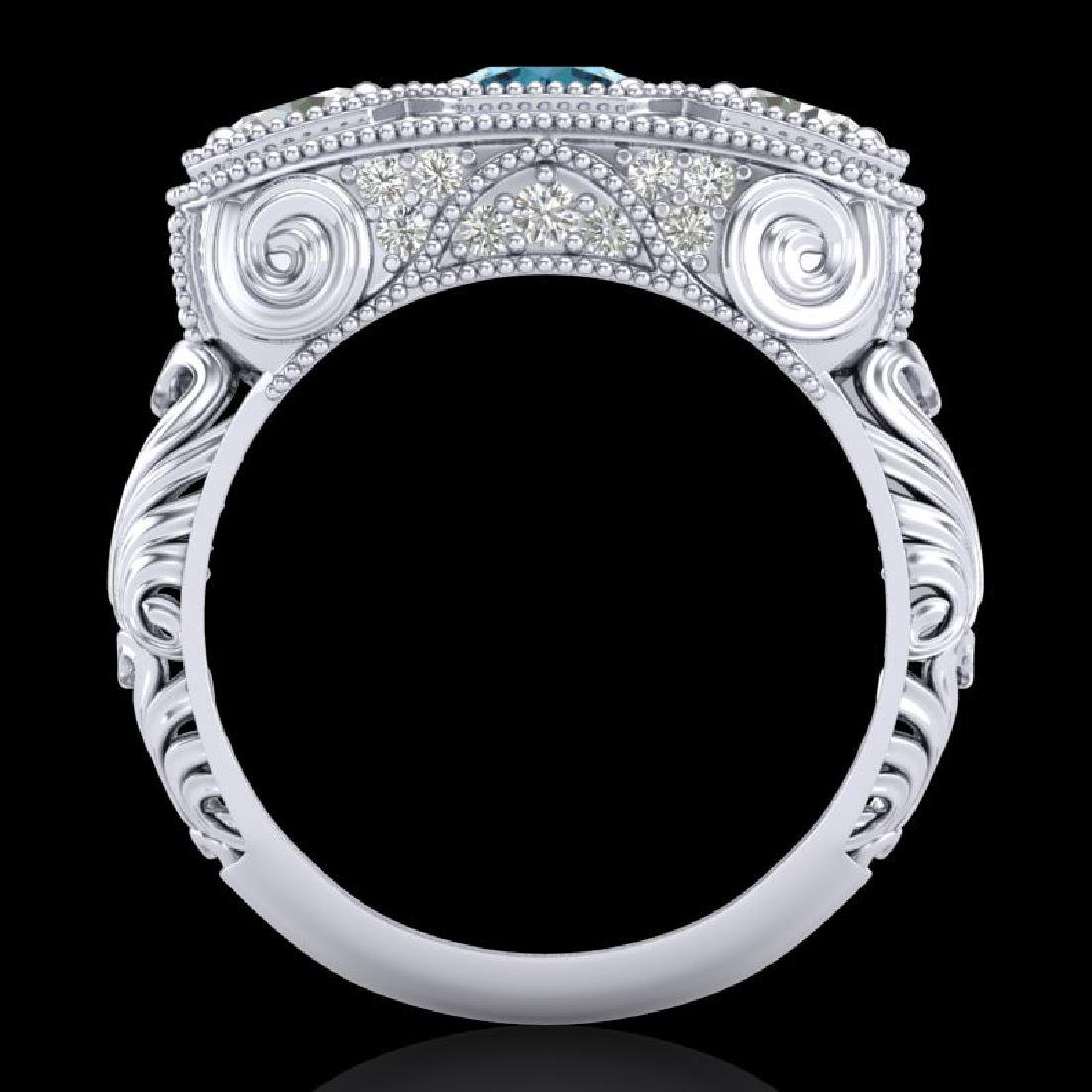 2.51 CTW Intense Blue Diamond Solitaire Art Deco 3 - 3