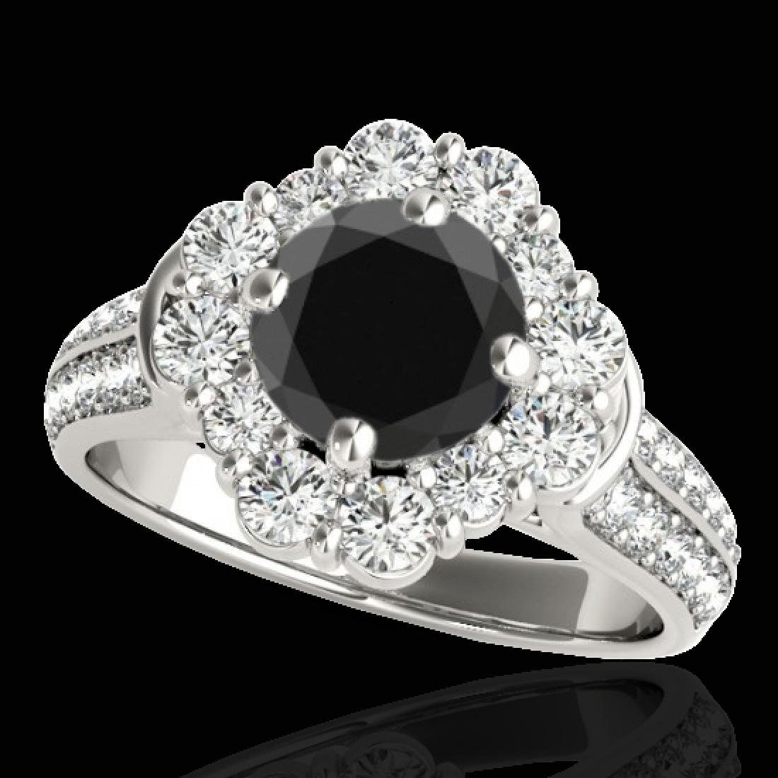 2.16 CTW Certified VS Black Diamond Solitaire Halo Ring
