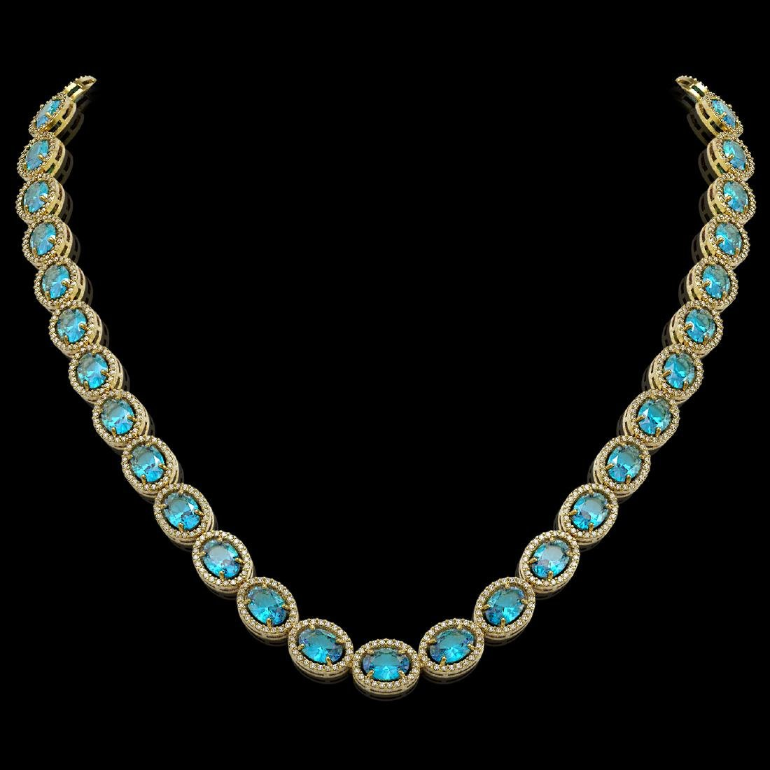 55.41 CTW Swiss Topaz & Diamond Halo Necklace 10K