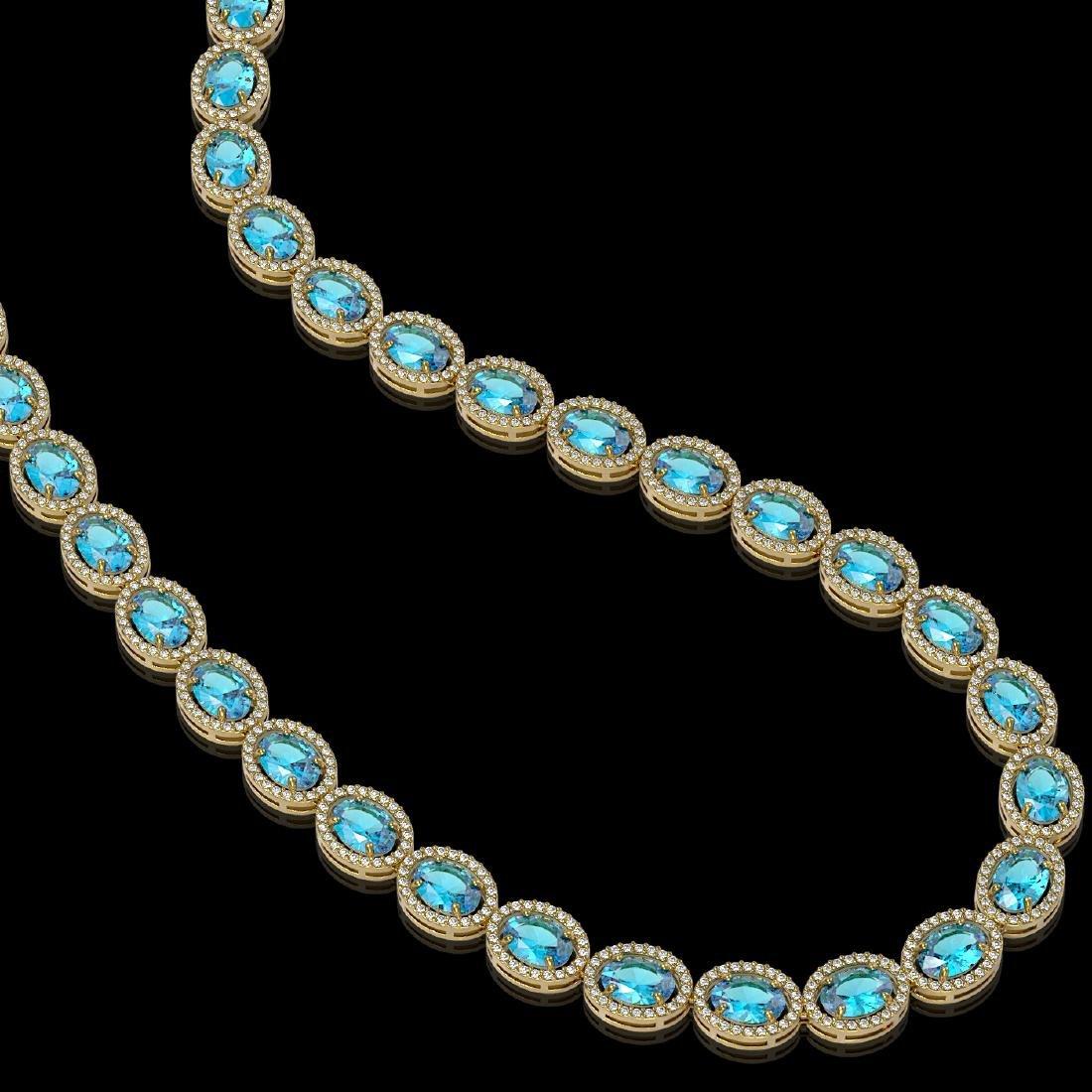 55.41 CTW Swiss Topaz & Diamond Halo Necklace 10K - 2
