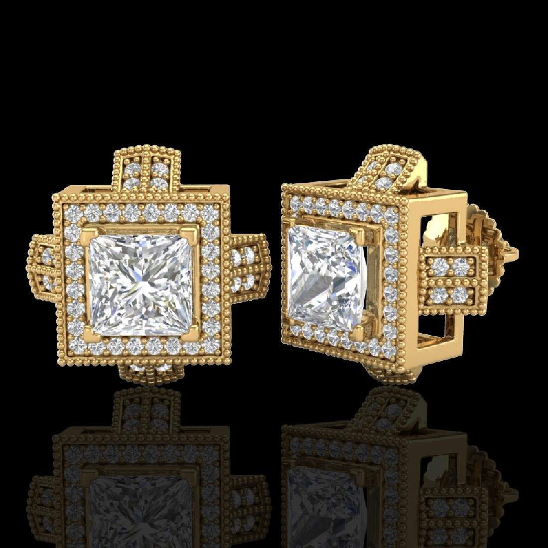 2.75 CTW Princess VS/SI Diamond Micro Pave Stud - 2