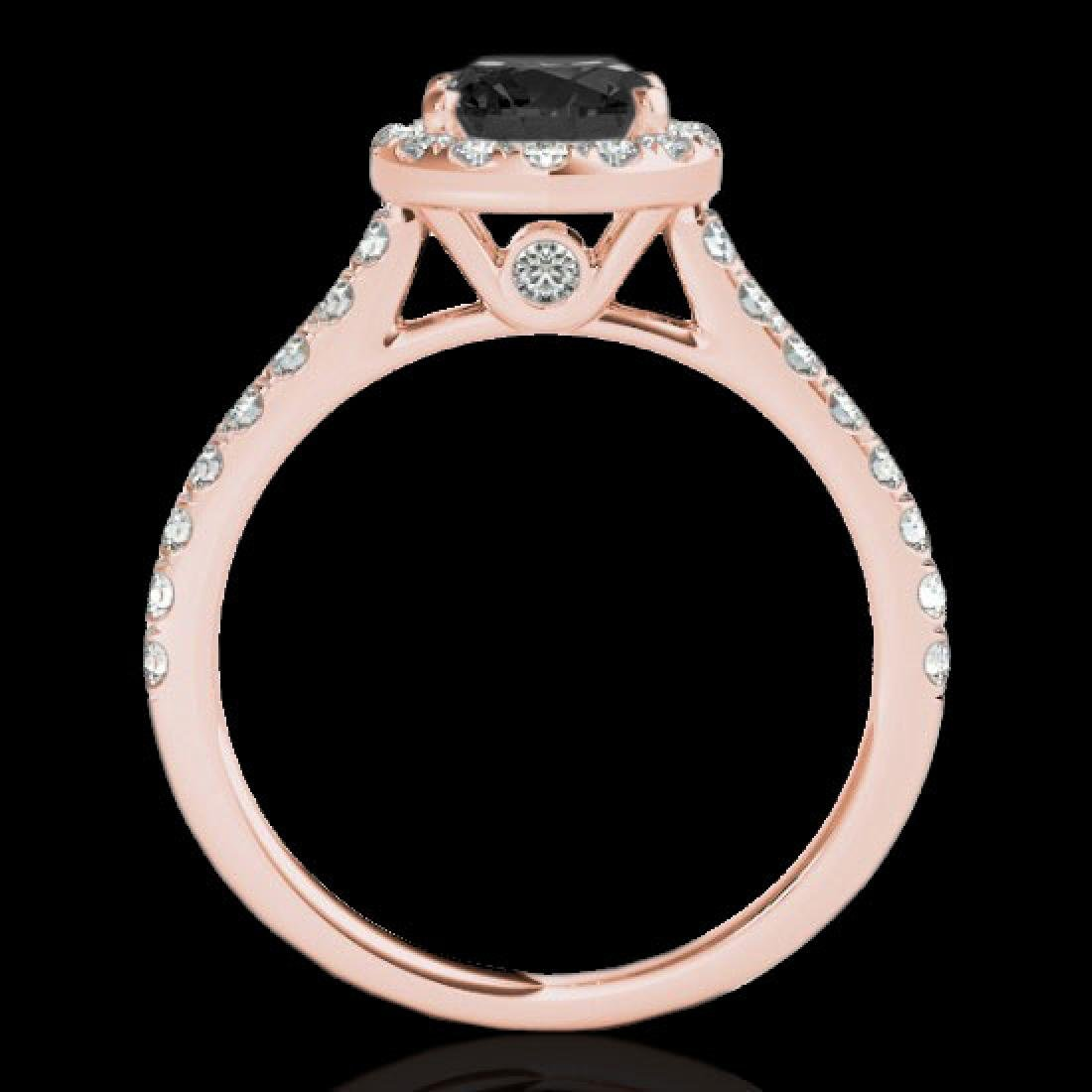 1.7 CTW Certified VS Black Diamond Solitaire Halo Ring - 2