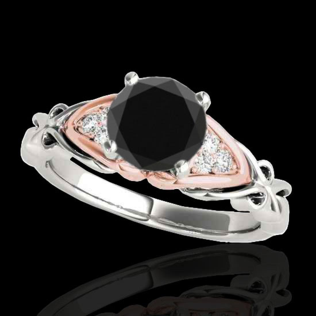 1.1 CTW Certified VS Black Diamond Solitaire Ring 10K