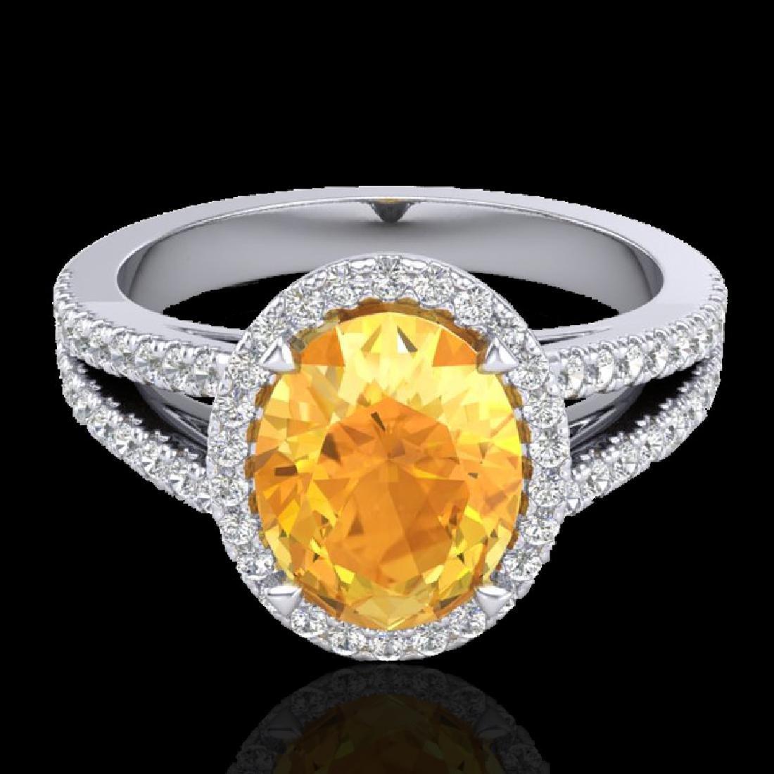 3 CTW Citrine & Micro VS/SI Diamond Halo Solitaire Ring
