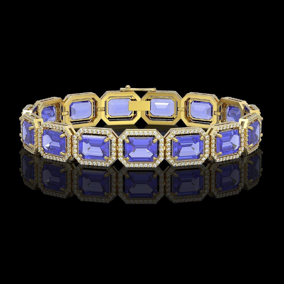 36.37 CTW Tanzanite & Diamond Halo Bracelet 10K Yellow