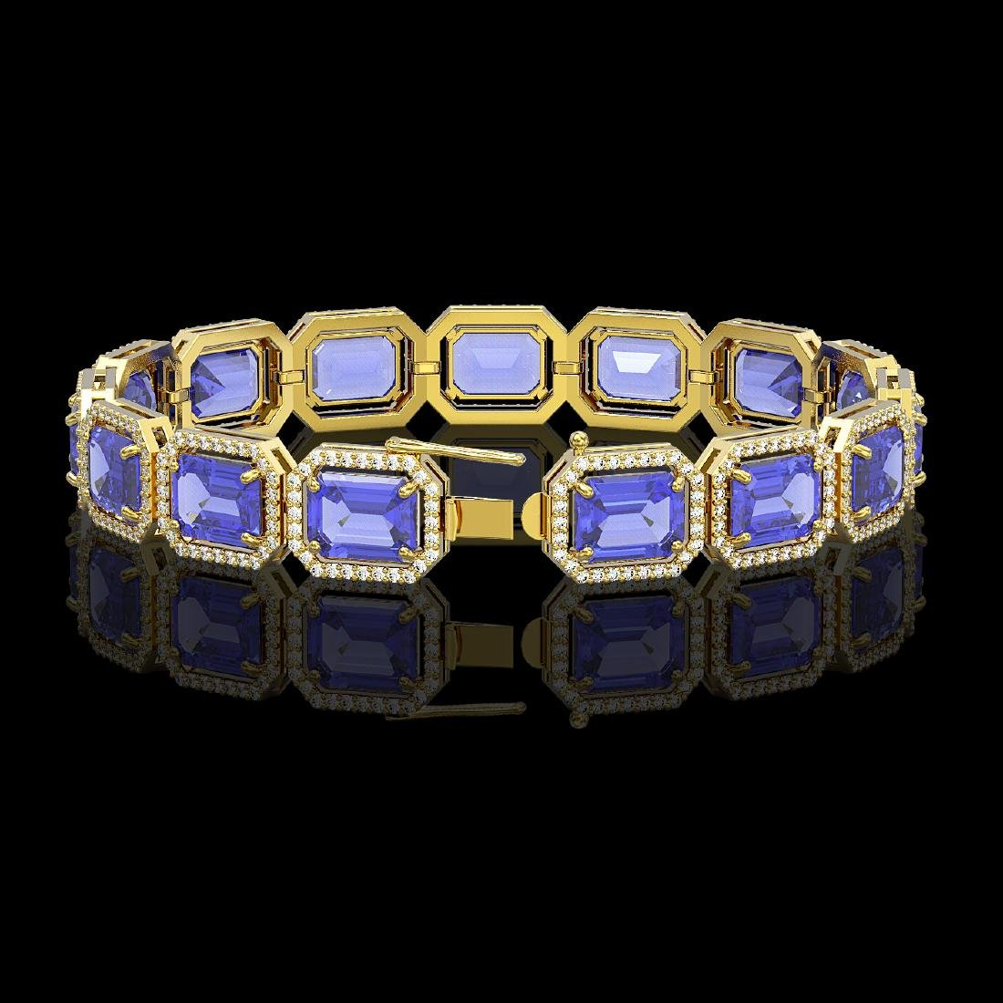 36.37 CTW Tanzanite & Diamond Halo Bracelet 10K Yellow - 2
