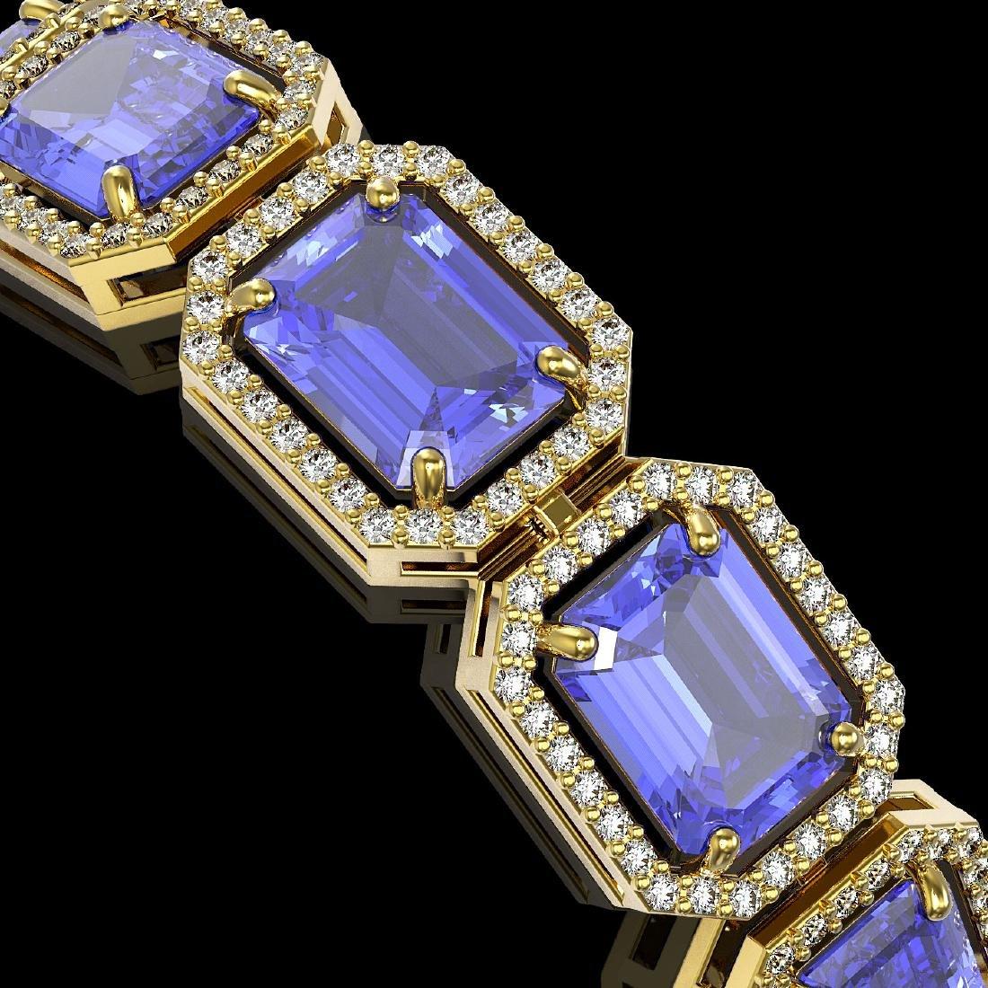 36.37 CTW Tanzanite & Diamond Halo Bracelet 10K Yellow - 3