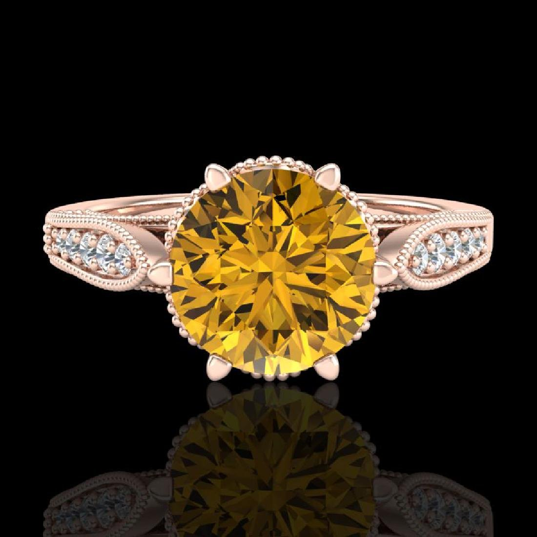 2.2 CTW Intense Fancy Yellow Diamond Engagement Art - 2