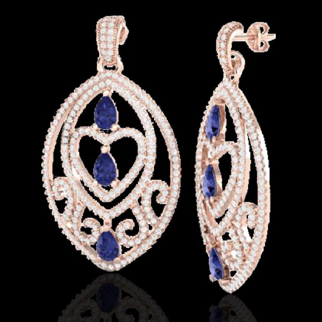 7 CTW Tanzanite & Micro Pave VS/SI Diamond Heart - 2