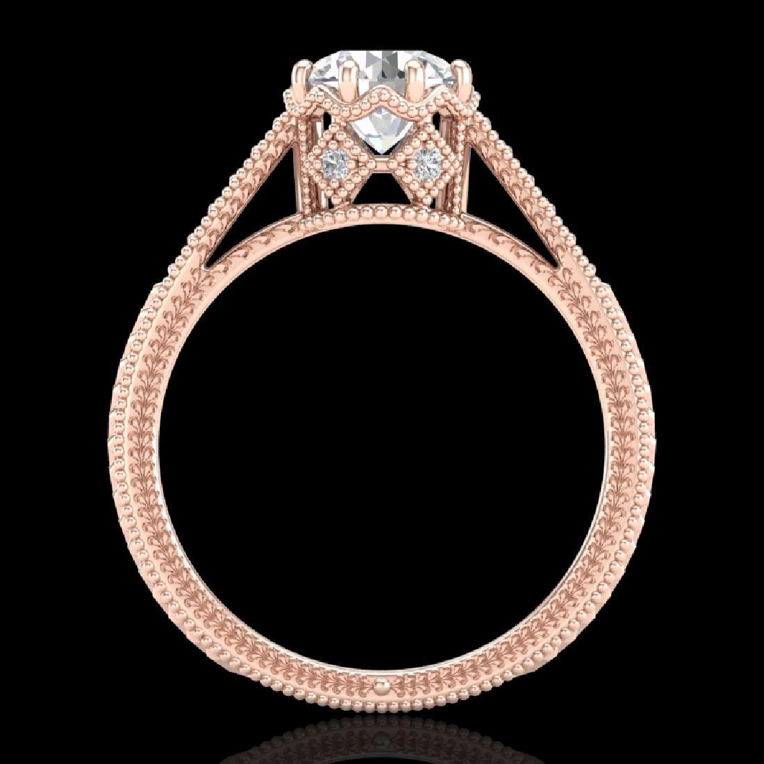 1.25 CTW VS/SI Diamond Solitaire Art Deco Ring 18K Rose
