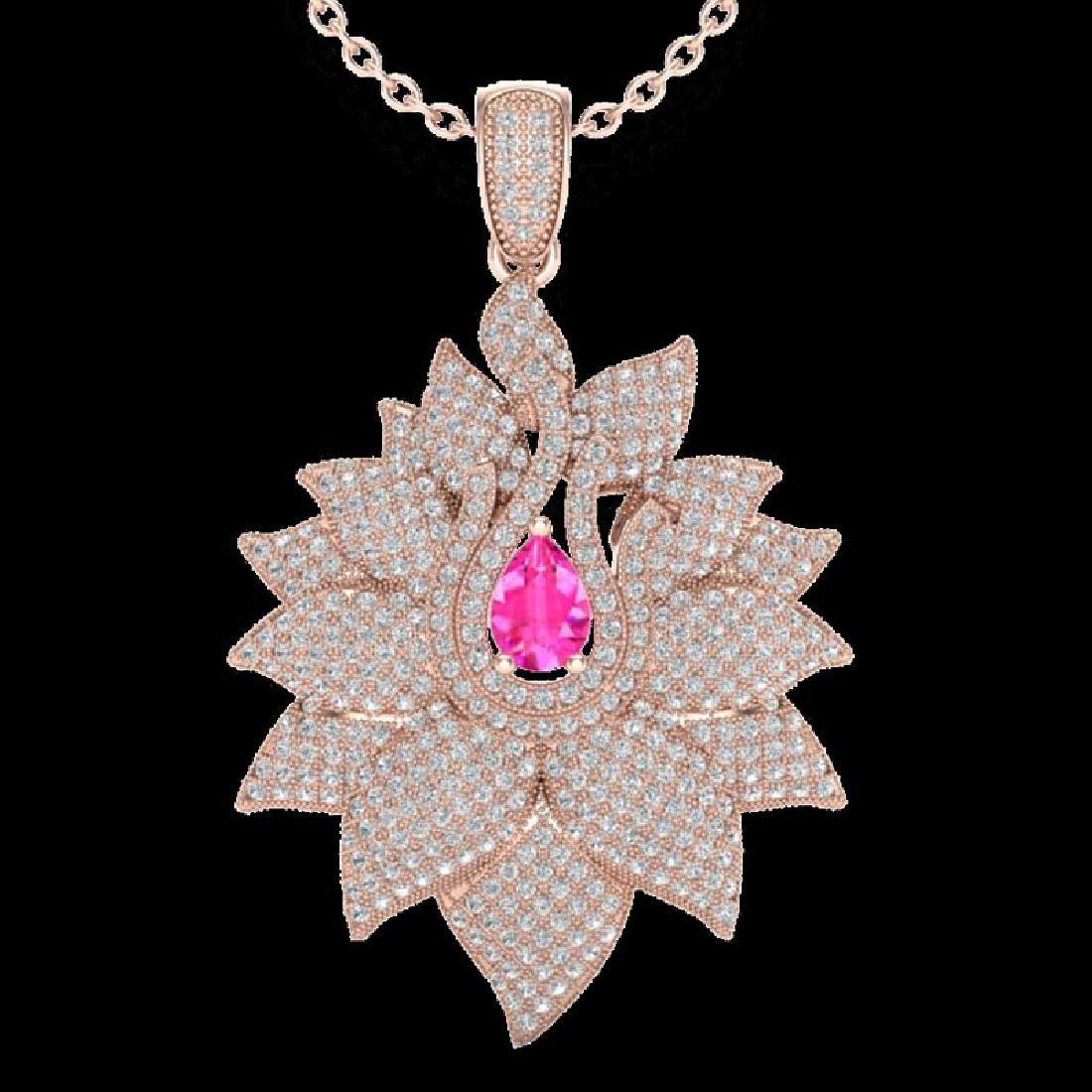 3 CTW Pink Sapphire & Micro Pave VS/SI Diamond Designer - 2