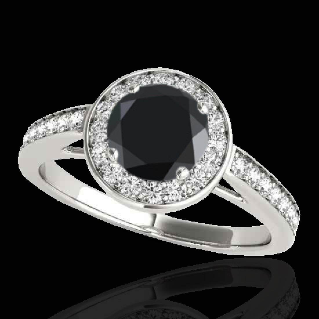 1.45 CTW Certified VS Black Diamond Solitaire Halo Ring