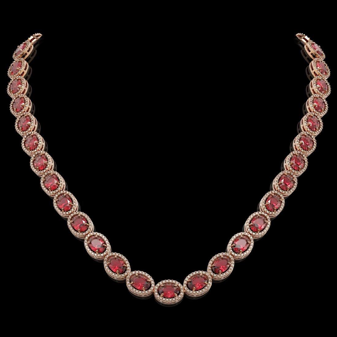49.46 CTW Tourmaline & Diamond Halo Necklace 10K Rose