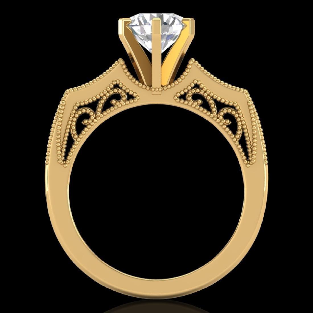 1.51 CTW VS/SI Diamond Solitaire Art Deco Ring 18K