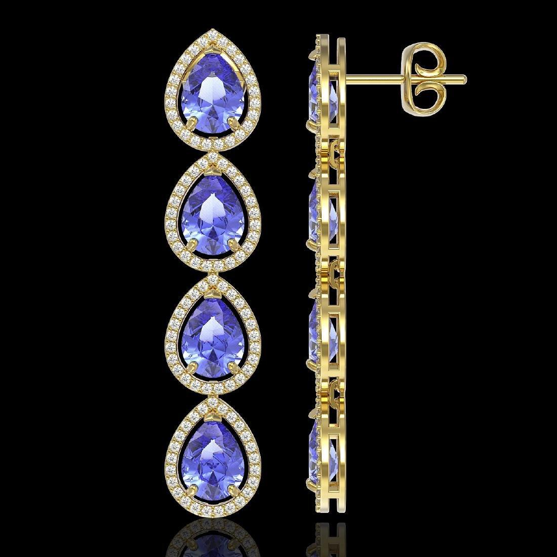 11.2 CTW Tanzanite & Diamond Halo Earrings 10K Yellow - 2