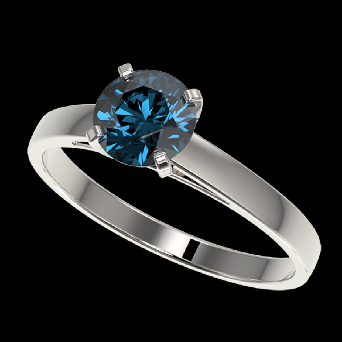 1.06 CTW Certified Intense Blue SI Diamond Solitaire