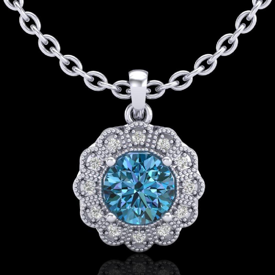 1.15 CTW Fancy Intense Blue Diamond Solitaire Art Deco